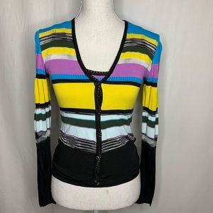 Missoni 2 Piece Striped Tank Long Sleeve Top Set S